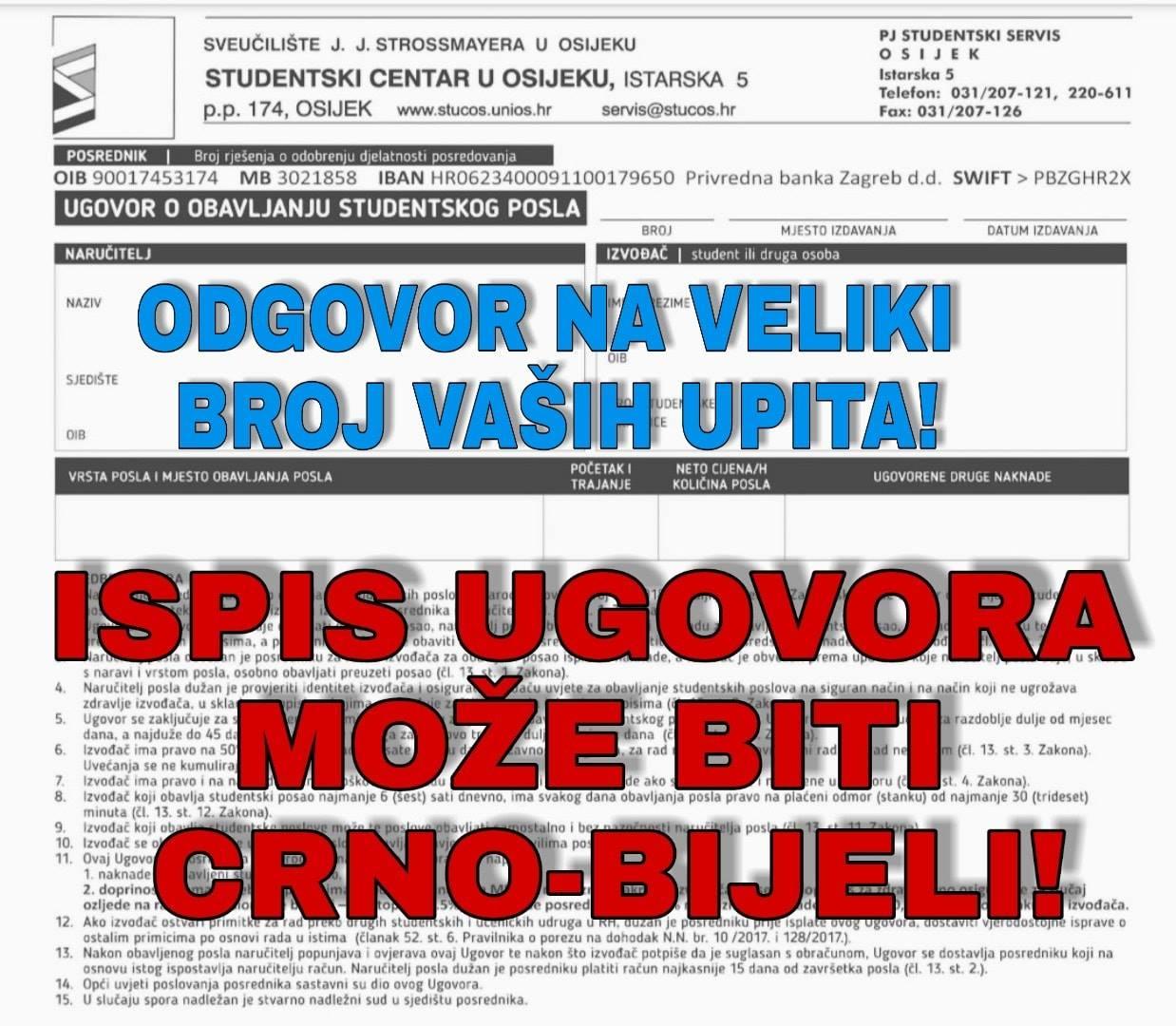 Izdavanje Pregled Ugovora Pregled Isplata I Zarada Studentski Centar U Osijeku