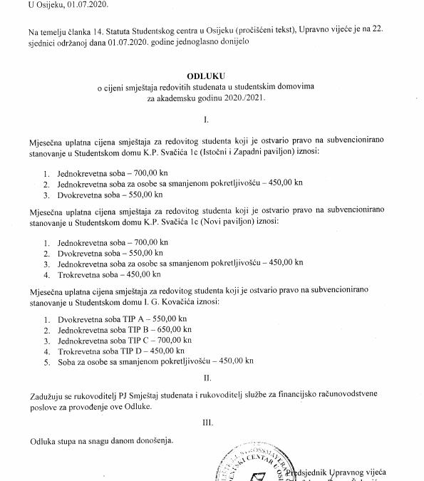 Odluka o cijeni smještaja redovitih studenata u studentskim domovima za akademsku godinu 2020./2021.